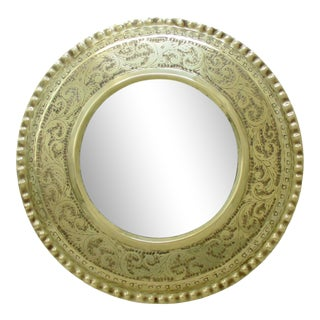 Indian Hammered Brass Mirror For Sale