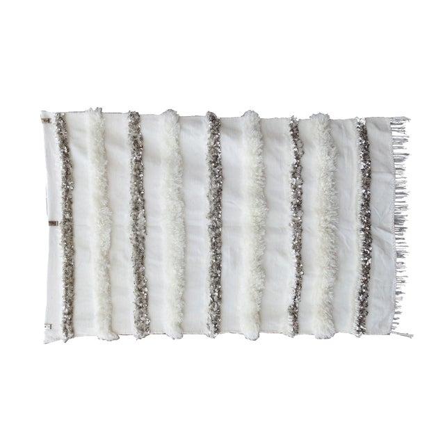 Blanc' Sequins & Fringe Moroccan Wedding Blanket For Sale