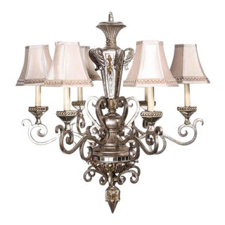 1920s Victorian Mirrored Nickel Plated 6 Arm Chandelier For Sale