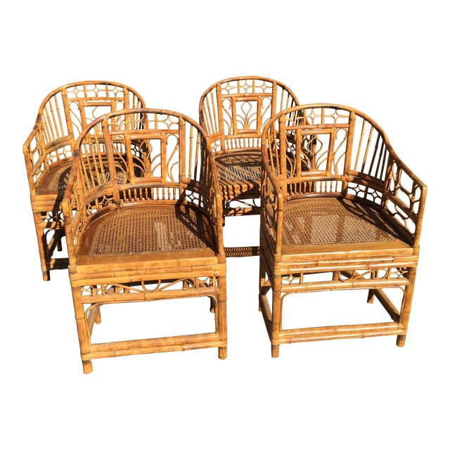1970s Vintage Brighton Pavilion Bamboo, Ratan and Cane Chairs- Set of 4 For Sale