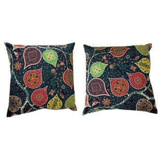 Persian Round Decorative Accent Pillows - a Pair, 14ʺw × 14ʺh For Sale
