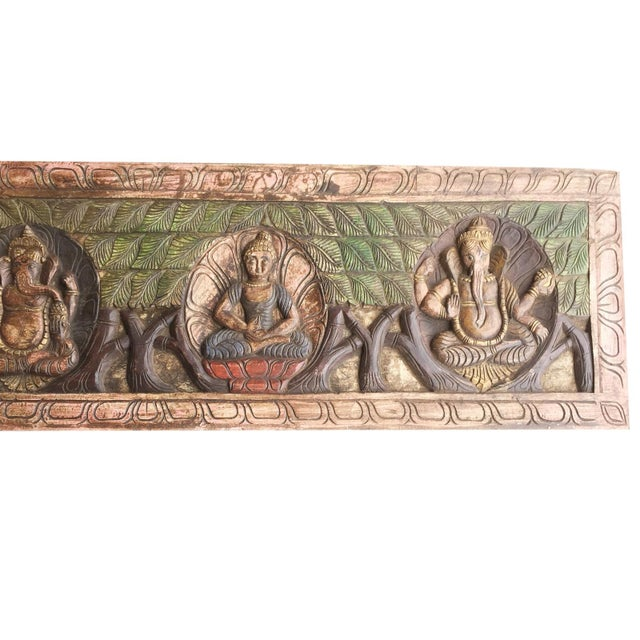 Art Deco 18th Century Asian Antique Hand Carved Buddha Ganesha Headboard For Sale - Image 3 of 5