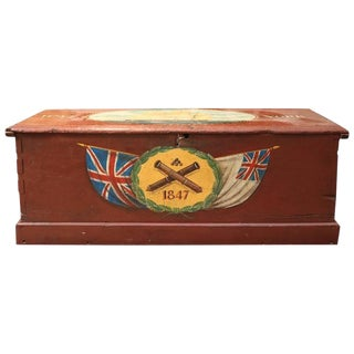 Antique Red Painted Sea Chest from HSM York For Sale
