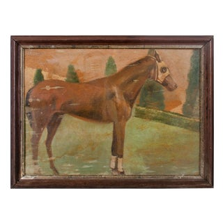 Vintage Mid-Century Race Horse Painting For Sale
