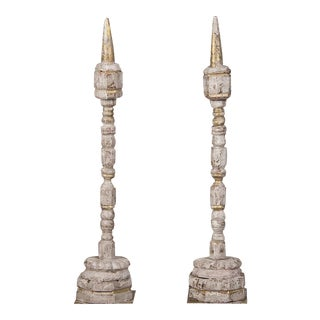 Pair Carved, Painted Tall Spindles for Wool, France c. 1875
