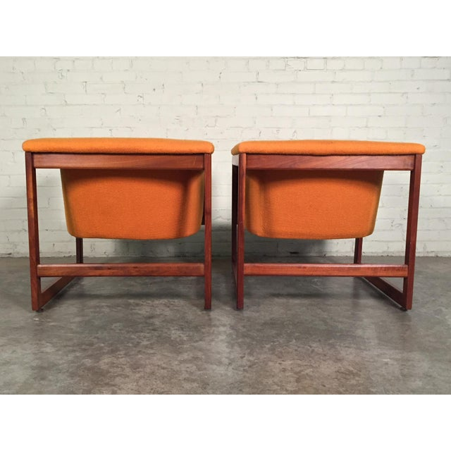 Fabric Milo Baughman Mid-Century Modern Floating Cube Chairs - A Pair For Sale - Image 7 of 10