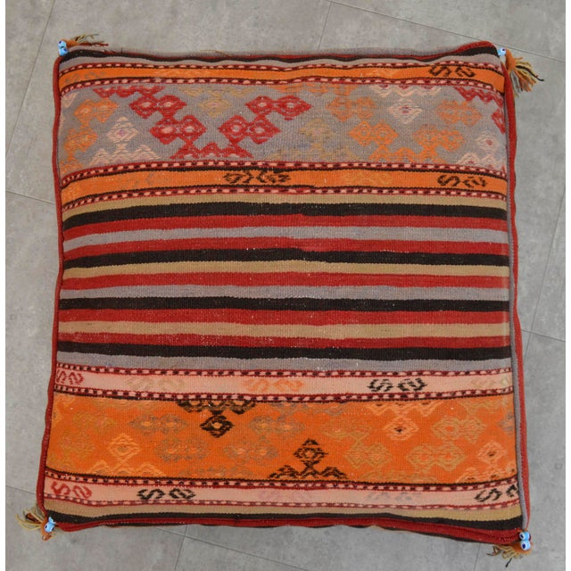 Turkish Hand Woven Floor Cushion Cover - 29″ X 29″ For Sale - Image 4 of 10