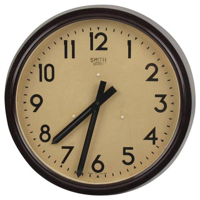 Smith Huge Industrial Factory English Art Deco Bakelite Wall Clock For Sale - Image 10 of 10