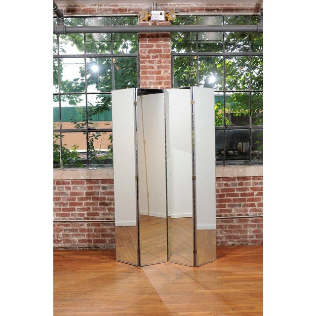 Mid-Century Modern Machine Age Mirrored Four-Panel Screen For Sale - Image 3 of 10