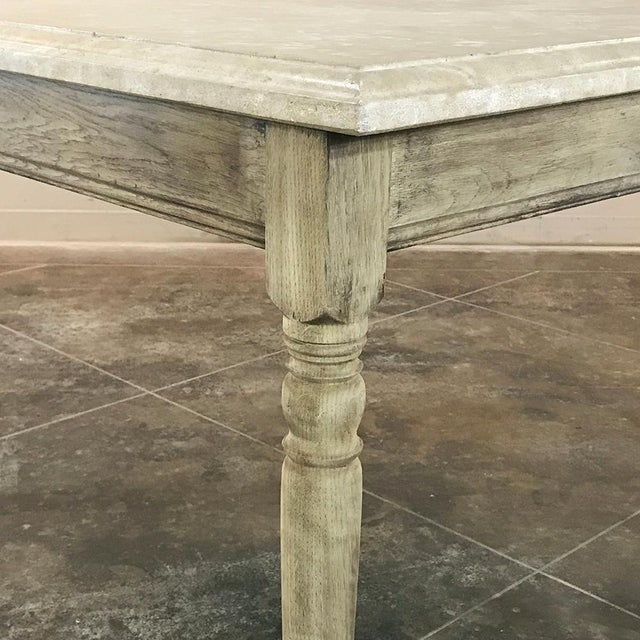 Greige 19th Century French Rustic Limestone Top Game Table - Center Table For Sale - Image 8 of 12