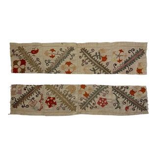 Antique Suzani Fragment Panels - a Pair For Sale