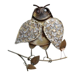 Mid Century Modern Owl Sculpture Wall Art by C. Jere, Signed For Sale