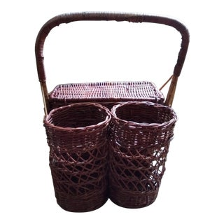 Vintage Wicker Picnic Basket with Bottle Holders For Sale