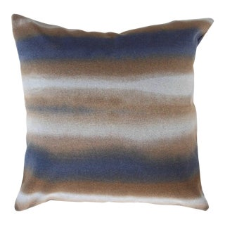FirmaMenta Super Soft Italian Hand Dyed Abstract Blue and Brown Virgin Wool Pillow For Sale