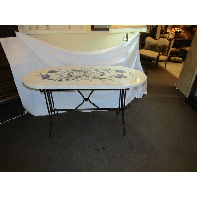 Marble Topped Wrought Iron Table - Image 2 of 6