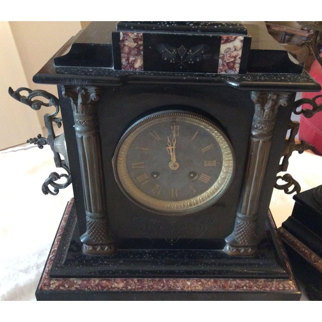 Empire French Black Marble Mantle Clock With Candelabras For Sale - Image 3 of 11