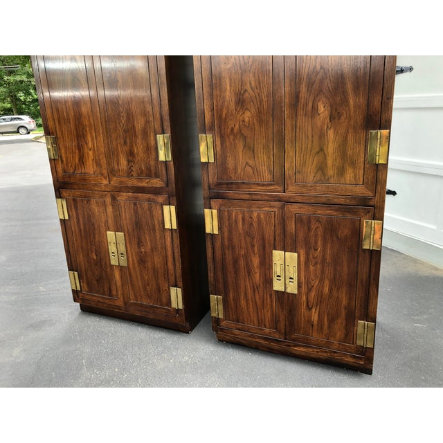 Henredon Scene One Campaign Style Armoire Cabinets 1980s - a Pair For Sale In New York - Image 6 of 12