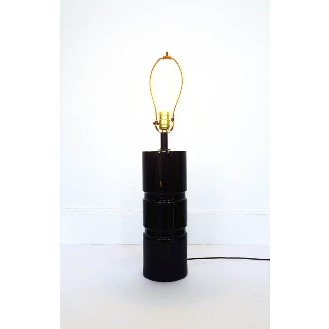 Hollywood Regency Vintage Black Ceramic Cylinder Lamp For Sale - Image 3 of 6