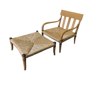 Beech & Woven Raffia Chair & Leather Ottoman For Sale