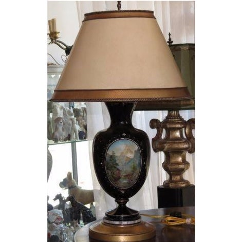 Antique Moser Hand-Painted Glass Vase Lamp - Image 2 of 5
