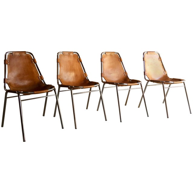 Mid-Century Modern Les Arcs Leather Tan Dining Chairs, 1970s - Set of 4 For Sale - Image 3 of 11