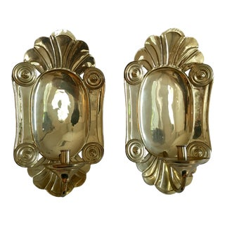 Vintage Mottahedeh Brass Wall Sconces - a Pair For Sale