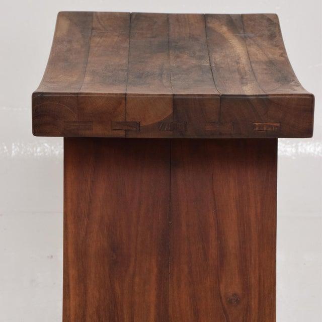 Mid-Century Modern Custom Walnut Stool, After Nakashima For Sale In San Diego - Image 6 of 8