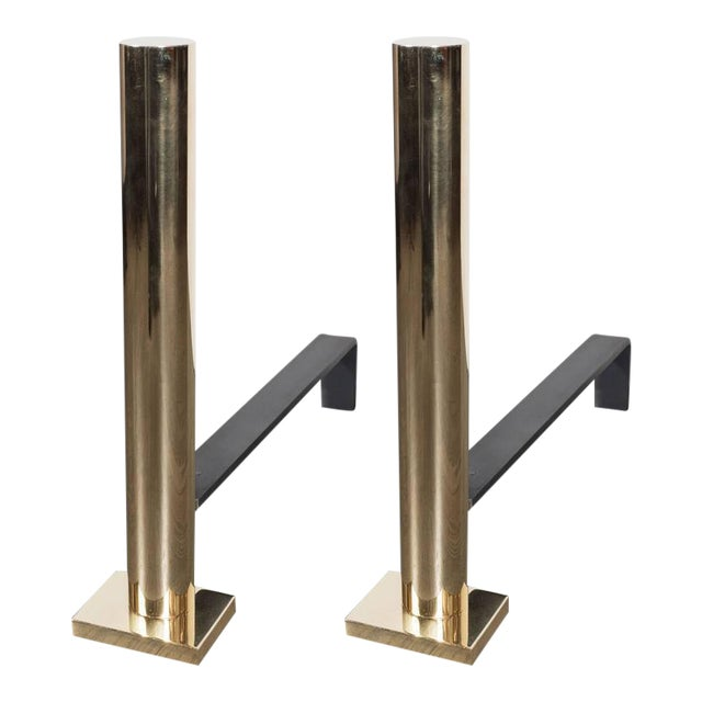 Pair of Custom Modernist Polished Brass Cylindrical Form Andirons For Sale