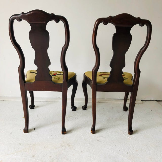Queen Anne Antique a Pair of Queen Anne Chairs Needlepoint Seats For Sale -  Image 3 - Antique A Pair Of Queen Anne Chairs Needlepoint Seats Chairish
