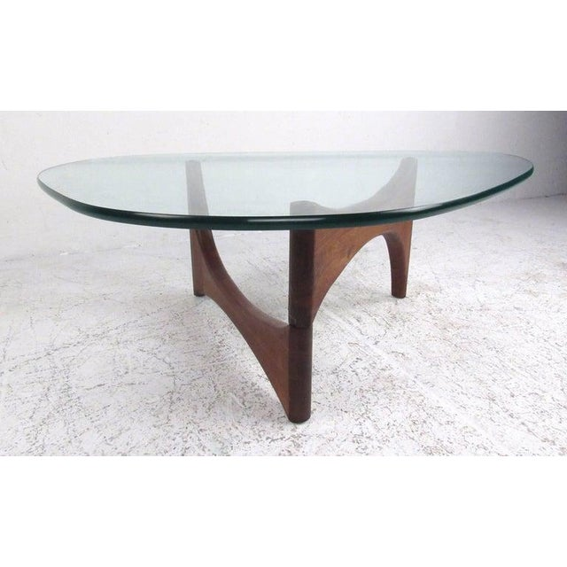 Mid-Century Modern Noguchi Style Triangular Glass Top Coffee Table For Sale - Image 9 of 9