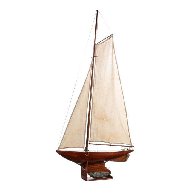 Antique Nautical Fully Rigged Pond Yacht Sailboat For Sale
