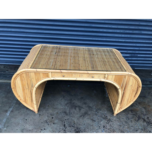 Late 20th Century Vintage Curved Split Reed Rattan Desk With Chair For Sale - Image 5 of 12