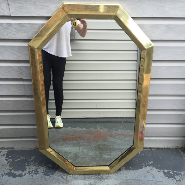 Mid Century Modernist Mastercraft Solid Brass Octagonal Mirror For Sale In Charlotte - Image 6 of 9