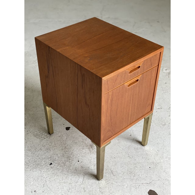 Mid Century Walnut and Brass Filing Cabinet For Sale - Image 4 of 6