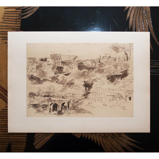 """The Colosseum"" by Jean-Baptiste-Camille Corot, Large Vintage Lithograph For Sale - Image 9 of 12"