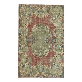 Art Deco Pink and Green Turkish Rug For Sale