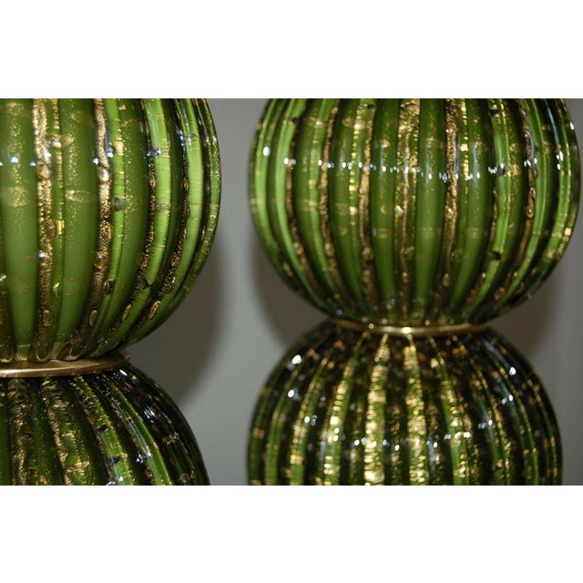 Vintage Murano Glass Stacked Ball Murano Lamps Green Gold For Sale In Little Rock - Image 6 of 10