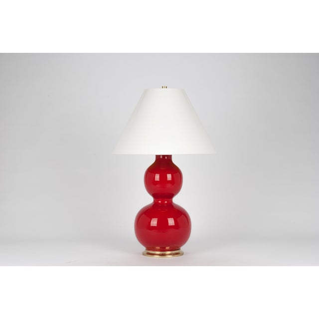 Contemporary Natalie Lamp in Cardinal Red / Polished Brass - Christopher Spitzmiller for The Lacquer Company For Sale - Image 3 of 3