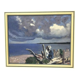 1970s Mid-Century Painting of Seaside Beach Scene With Two Women For Sale