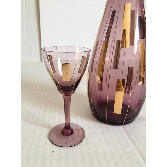 Hollywood Regency Amethyst & Gold Mid-Century Modern Cordial Set for Two For Sale - Image 3 of 7