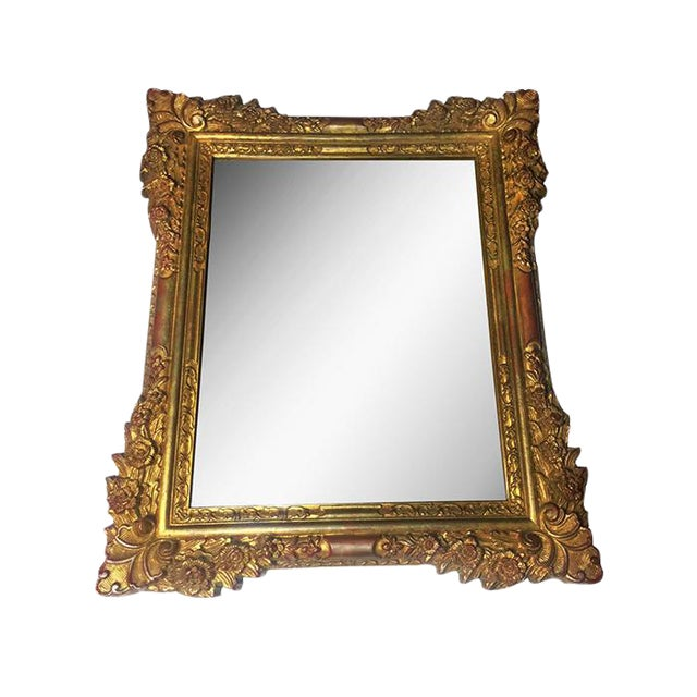 Vintage Gold Hand Carved Wooden Mirror - Image 1 of 4