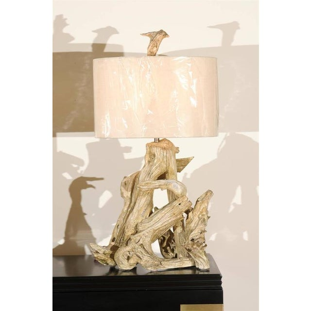 Restored Pair of Large-Scale Vintage Driftwood Lamps in Gesso For Sale - Image 4 of 10