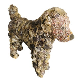 Oyster Shell Dog Statue For Sale