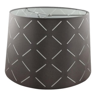 Fabric Drum Lamp Shade Gray With White Cutouts For Sale