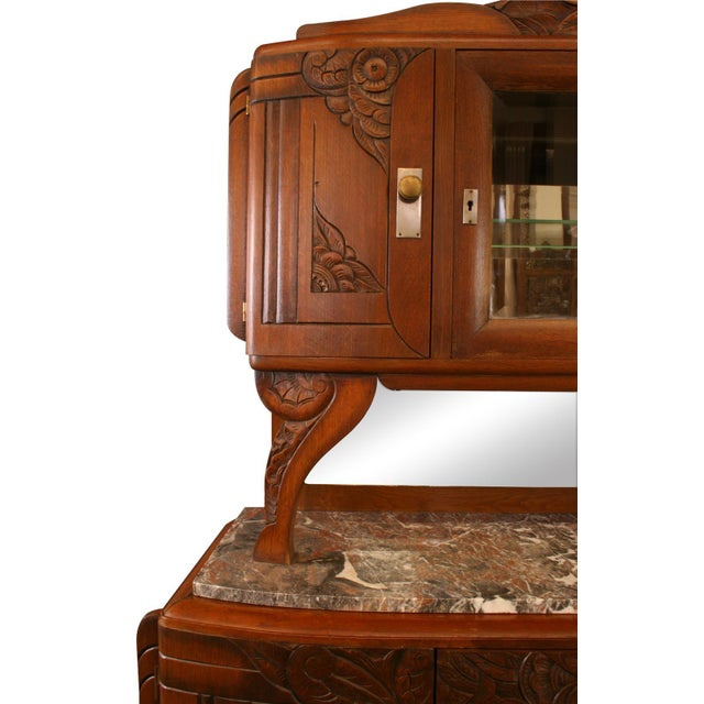 1920 French Art Deco Carved Walnut Buffet - Image 4 of 8