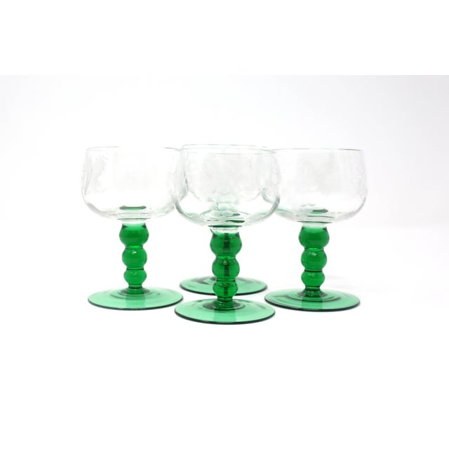 Mid-Century Modern Mid-Century Cordial Glasses With Etched Grapes and Leaves - Set of 4 For Sale - Image 3 of 12