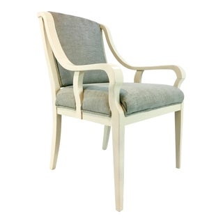 Hickory Chair Ivory and Light Blue Transitional Accent Chair For Sale