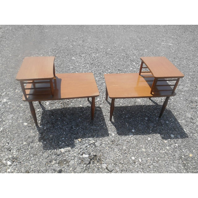 1960's Danish Modern Baumritter Corner End Side Tables- a Pair For Sale - Image 9 of 11