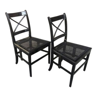 Extraordinary Foldable Pair of Black Caned Chairs For Sale