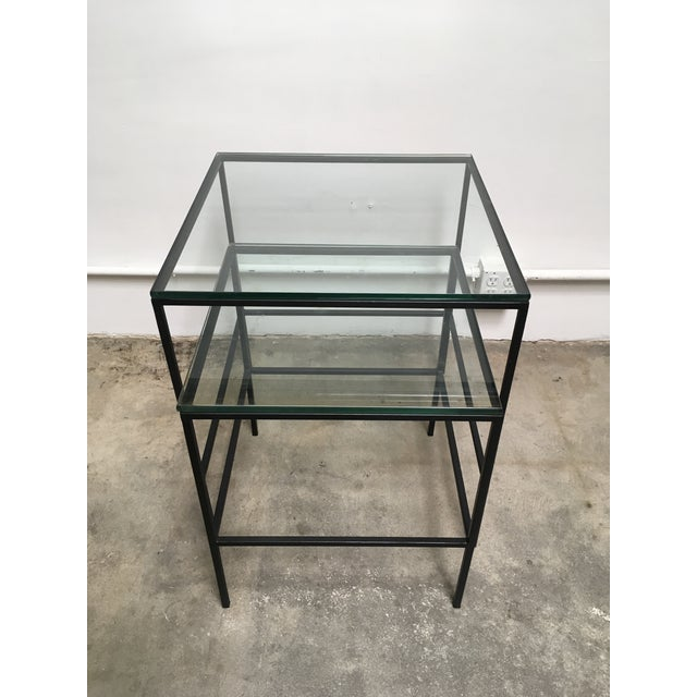 1950s 1950s Mid Century Modern Black Iron Frame & Glass Top Nesting Tables - 2 Pieces For Sale - Image 5 of 13